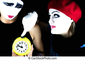 Mimes and alarm clock