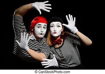 mimes, deux mains, mur, penchant, gants, imaginaire, blanc