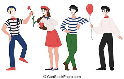 Mimes man and woman pantomime vector illustration
