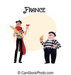 mimes, vieux, deux, francais, jeune, symboles, france