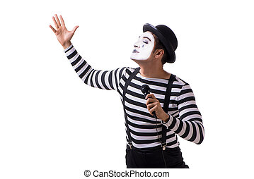 mimespeler, het zingen, vrijstaand, op wit, achtergrond