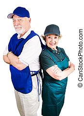 Mimimum Wage Senior Workers - Senior couple working minimum...