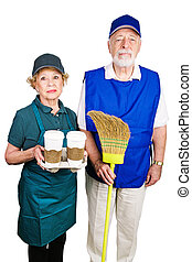 Mimimum Wage Workers - Senior couple working minimum wage...