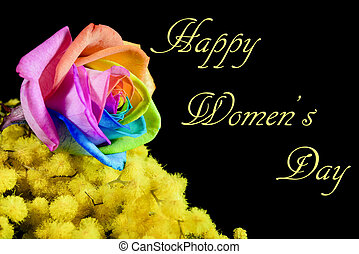 mimosa and multicolored rose on black background and happy womens day written