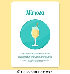 Mimosa cocktail drink in circle icon