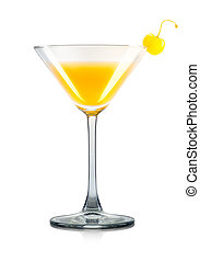 Mimosa cocktail in martini glass isolated on white