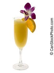 mimosa, fond blanc, cocktail