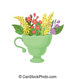 Mimosa in a green mug. Vector illustration on white background.