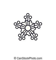 Mimosa line icon concept. Mimosa flat vector sign, symbol, illustration.