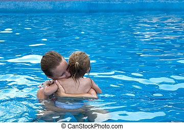 mimoso, en, el, piscina