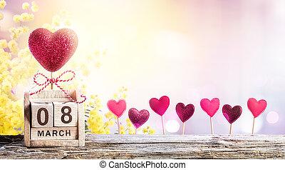 mimoza, tło, 8, serca, kalendarz, dzień, kobiety