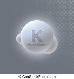 minéral, icône, potassium