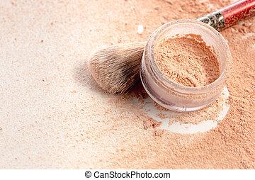 minéral, maquillage, gros plan, écrasé, doré, couleur, brosse, chatoiement, poudre