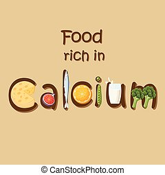 minéral, nourriture, calcium., riche