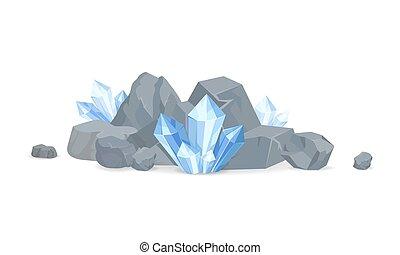minéraux, vecteur, collection, illustration, rochers