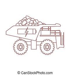 minério, elétrico, bateria, símbolo., débito, dumper