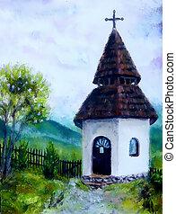 minúsculo, histórico, campanário, em, paisagem rural, original, quadro, óleo, ligado, lona.