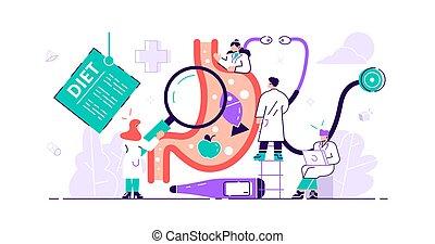 minúsculo, pessoas, doutor, estômago