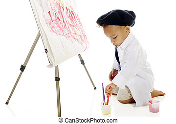 minúsculo, pintor, no trabalho