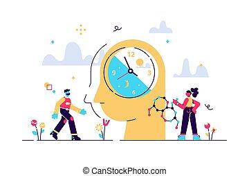 minúsculo, ritmo, conceito, pessoa, vetorial, circadian