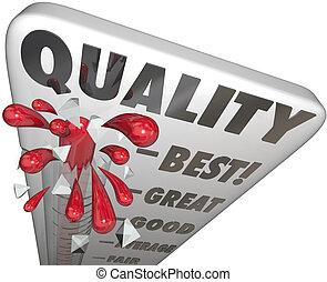 minőség, lázmérő, felbecsül, tető, legjobb, szolgáltatás, termék