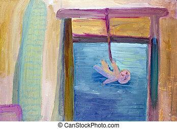 min, barndom, fönster