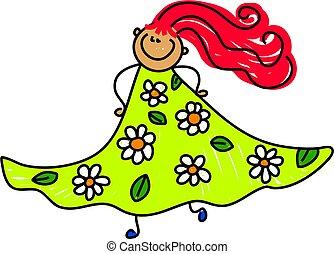 min, blom klänning