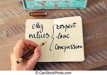 min, värderar, respekt, kärlek, medlidande