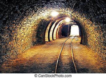 mina, ouro, túnel subterrâneo, ferrovia