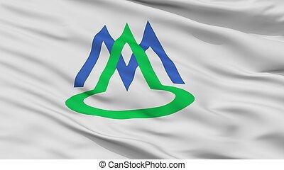 Minamialps City Flag, Japan, Yamanashi Prefecture, Closeup ...