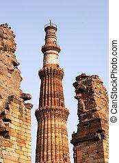 minar, komplex, qutb, indien, delhi