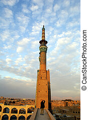 Minaret and sunset - Amir Chakmak complex in Yazd, Iran