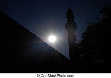 minaret, anoitecer