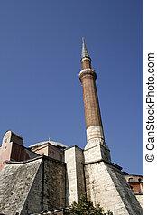 Minaret at Hagia Sofia in Istanbul, Turkey