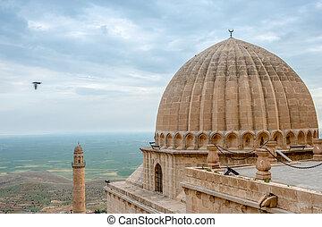 minaret, av, den, stor moské, känd, också, som, ulu, cami,...