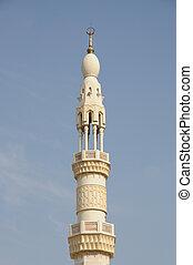 minaret, de, um, mesquita, em, dubai, emirates árabes unidos