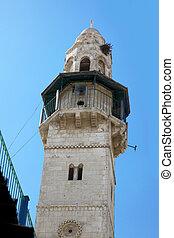 Minaret in old city Jerusalem , Israel