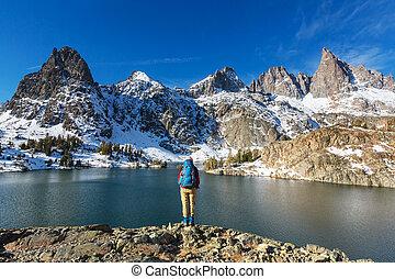 Hike to beautiful Minaret Lake, Ansel Adams Wilderness, Sierra Nevada, California, USA. Autumn season.