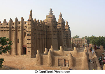 Minaret of a traditional mosk made of mud in Mali, West...
