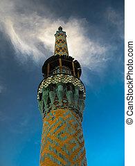 Minaret of Amir Chakhmaq Complex and mosque in Yazd, Iran