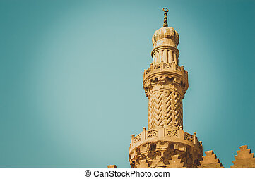 minaret of old mosque at cairo, egypt