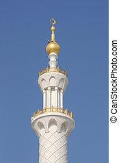 Minaret of Sheikh Zayed Mosque, Abu Dhabi United Arab Emirates