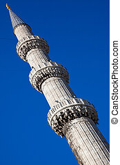 Minaret of the blue mosque, Istanbul, Turkey