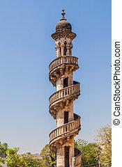 Minaret of the tomb of Bahar-ud-din Bhar in Junagadh, Gujarat state, India