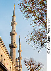 minaret on the sky background