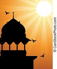Minaret silhouette with sunlight