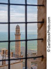 minaret, van, de, grote moskee, bekend, ook, als, ulu, cami,...