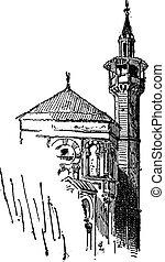 Minaret, vintage engraving - Minaret, at the Great Mosque of...