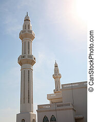 Minarets - The minarets of a spectacular mosque in Doha,...