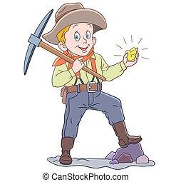 minatore, cartone animato, oro